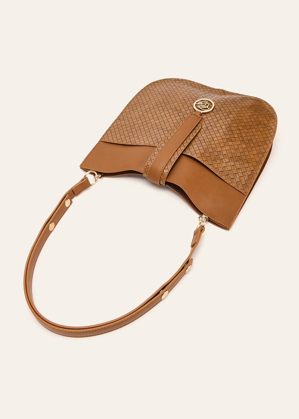 Bily unlined faux-leather sack bag - Pecan - Woman