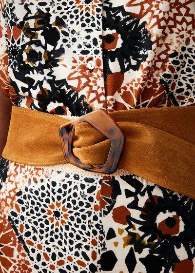 Corinn genuine leather belt with animal print buckle