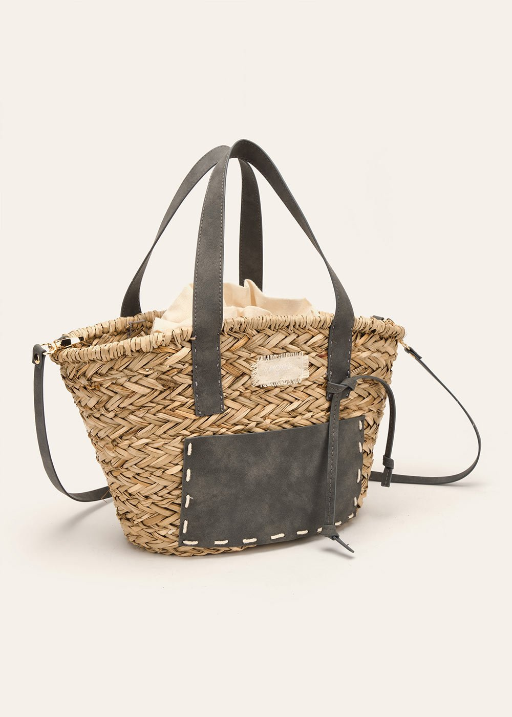 Bice straw shopping bag with faux-leather pocket - Beige  / Caviale - Woman