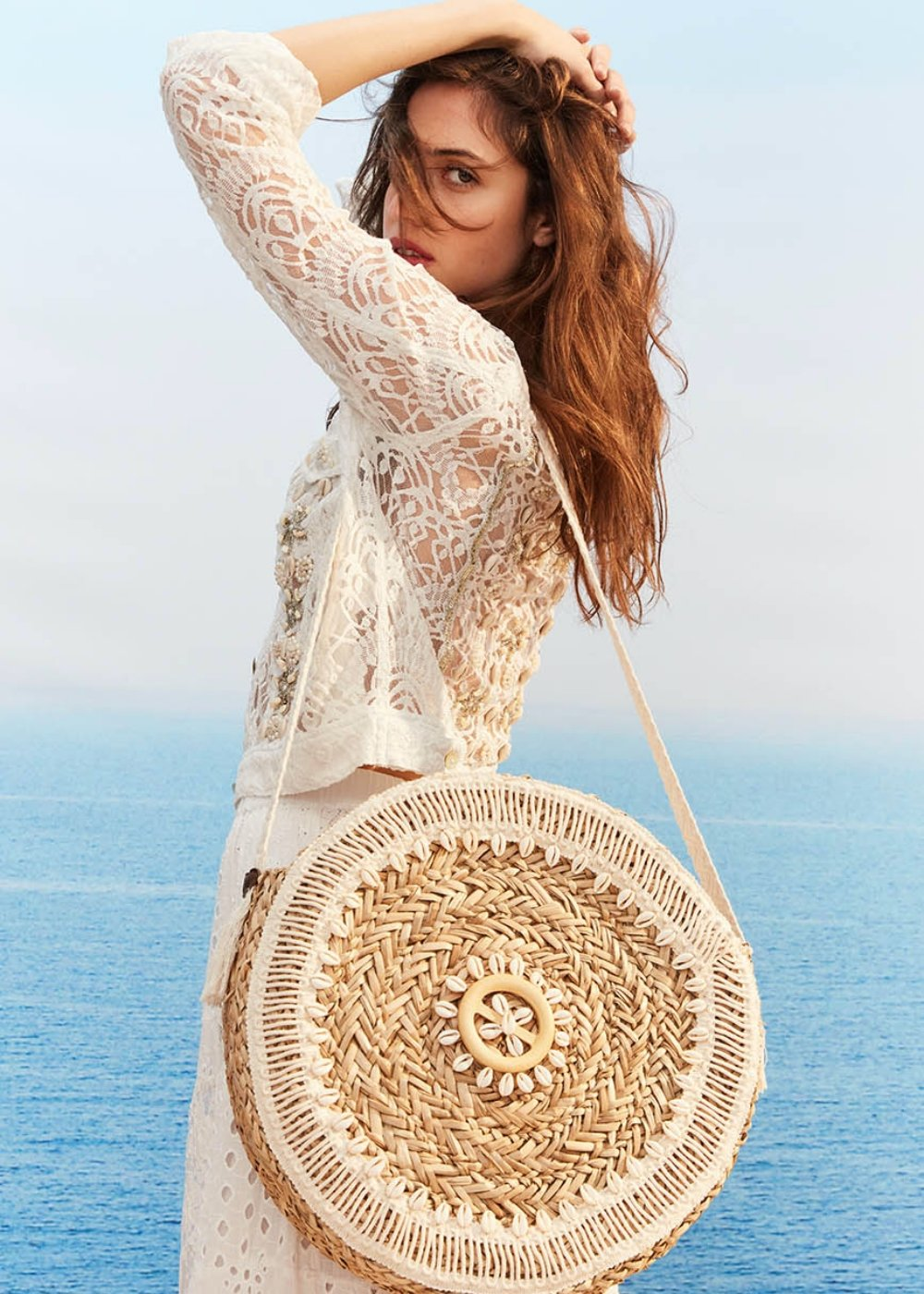 Benedicta shoulder bag with shells - Beige  / Mousse - Woman