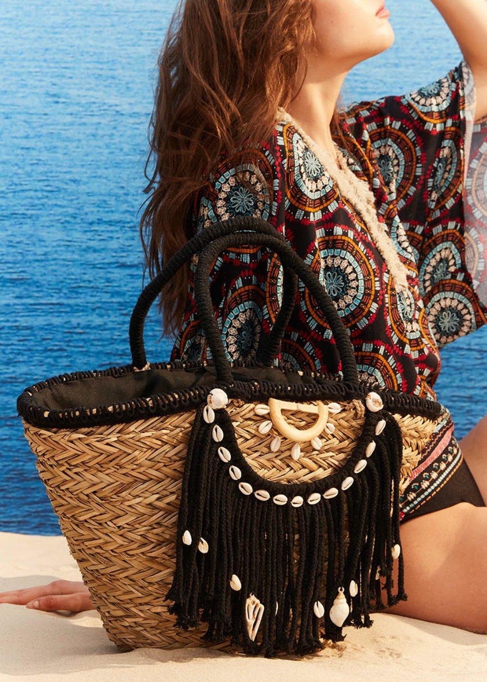 Balu straw beach bag - Black - Woman