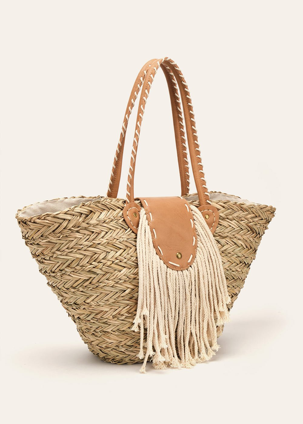 Bookie beach basket bag with fringes - Cammello / Beige - Woman