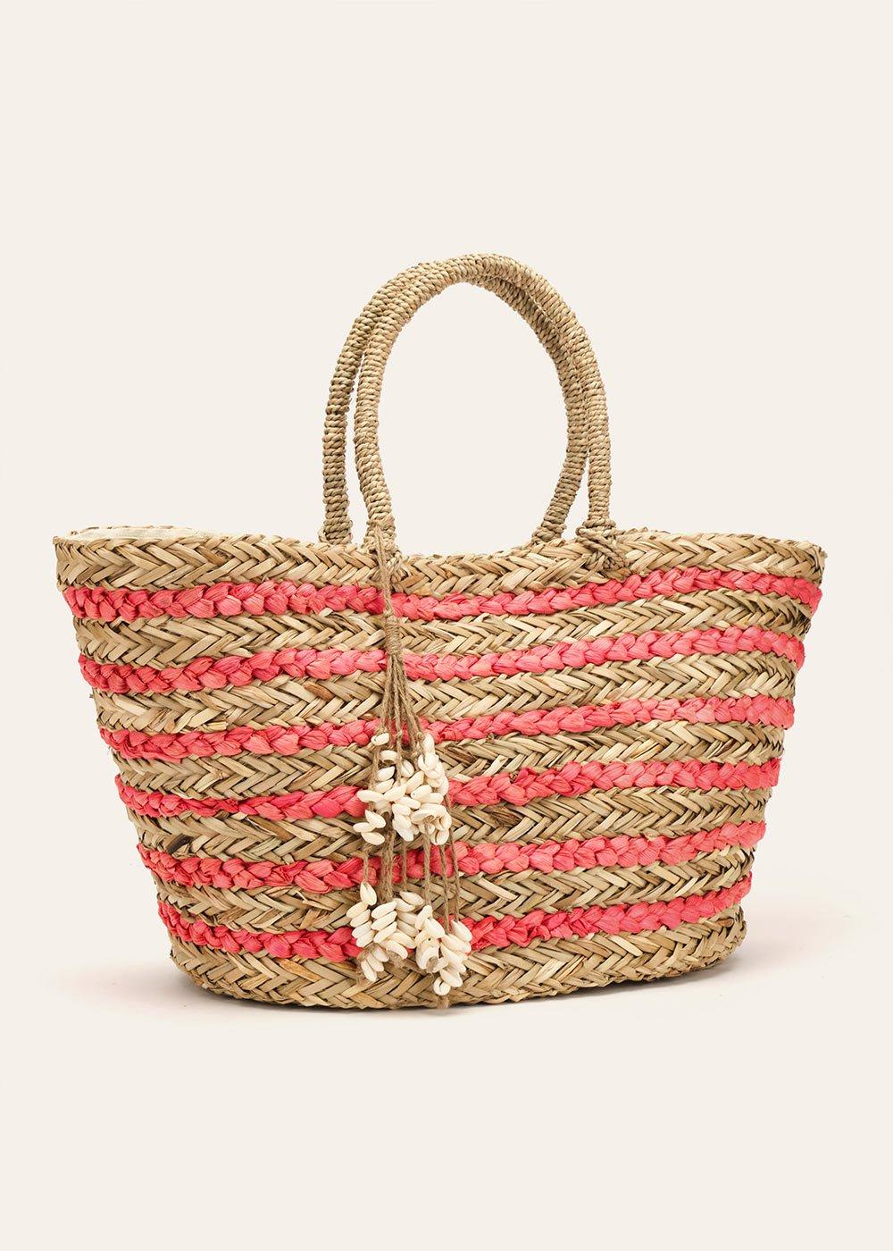 Benley striped beach basket bag - Lobster - Woman