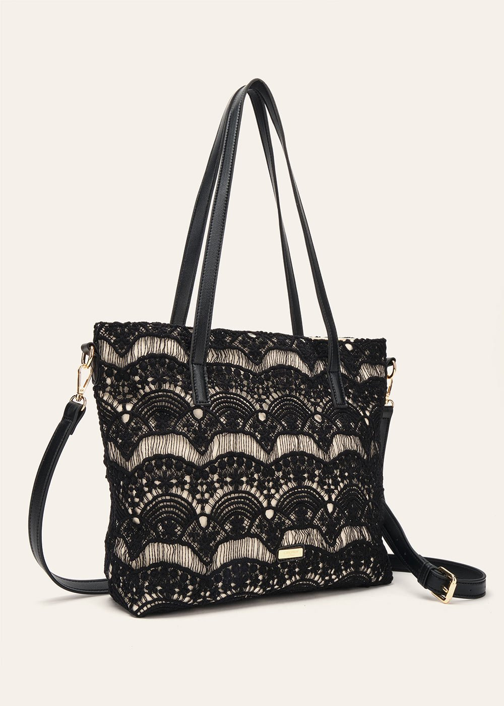 Bess lace-covered shopping bag - Black - Woman