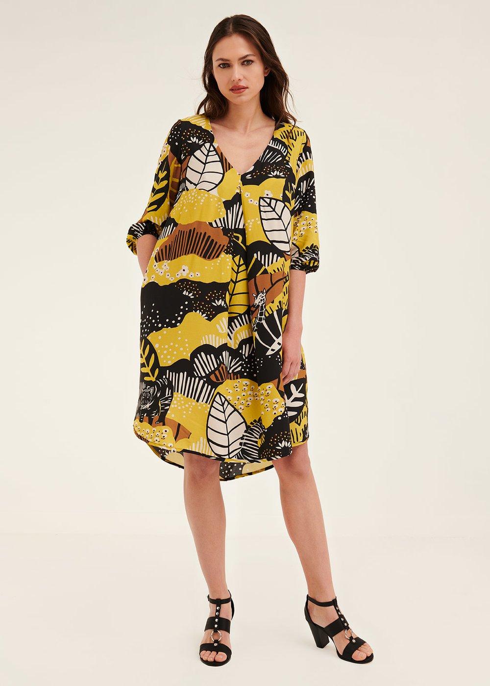 Alvyn Naive print dress - Black / Kaki Fantasia - Woman