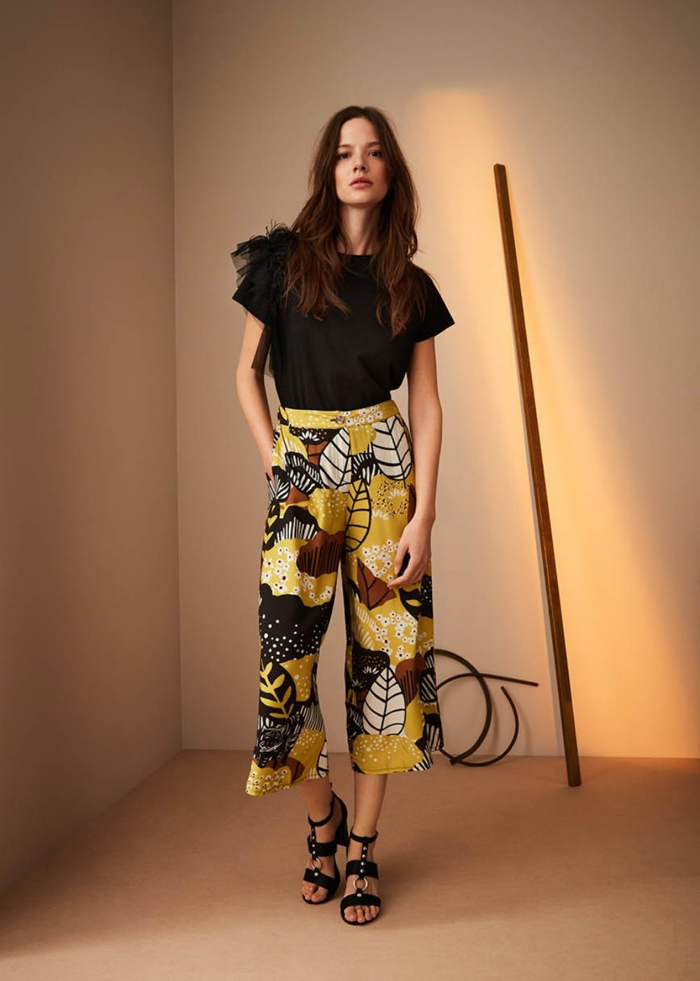 Megan Naive print trousers - Black / Kaki Fantasia - Woman
