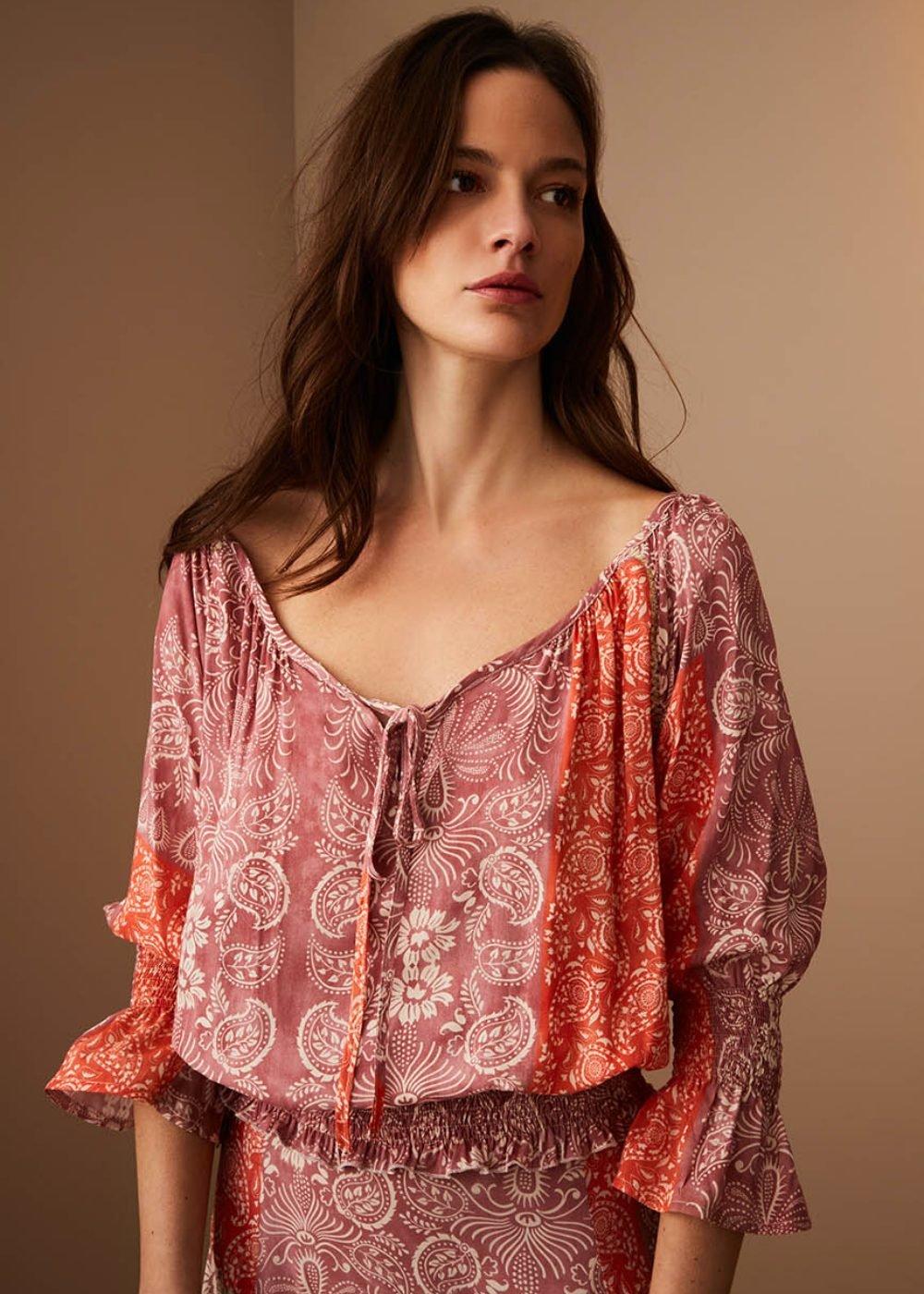 Catlyn shirt with bandana print - Papaya /  Mora Fantasia - Woman