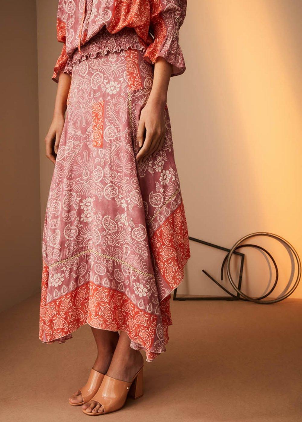 Giorgia skirt with asymmetric cut - Papaya /  Mora Fantasia - Woman