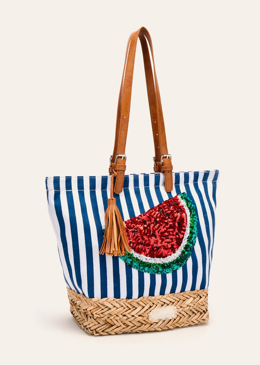 Blecky cotton and straw shopping bag - Blue / White Stripes - Woman