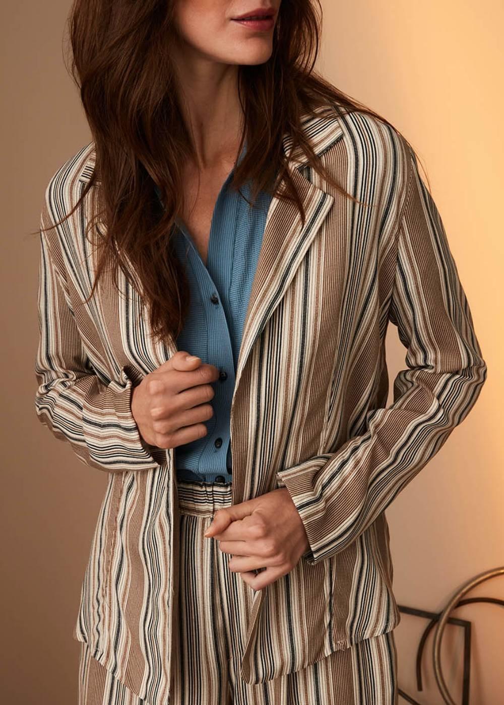 Carl deconstructed pinstripe jacket - Safari / Taupe Fantasia - Woman