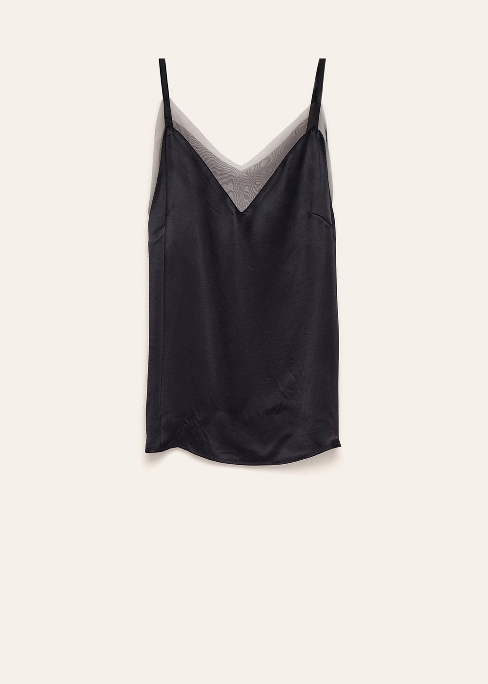 Thorn top with organza - Black - Woman