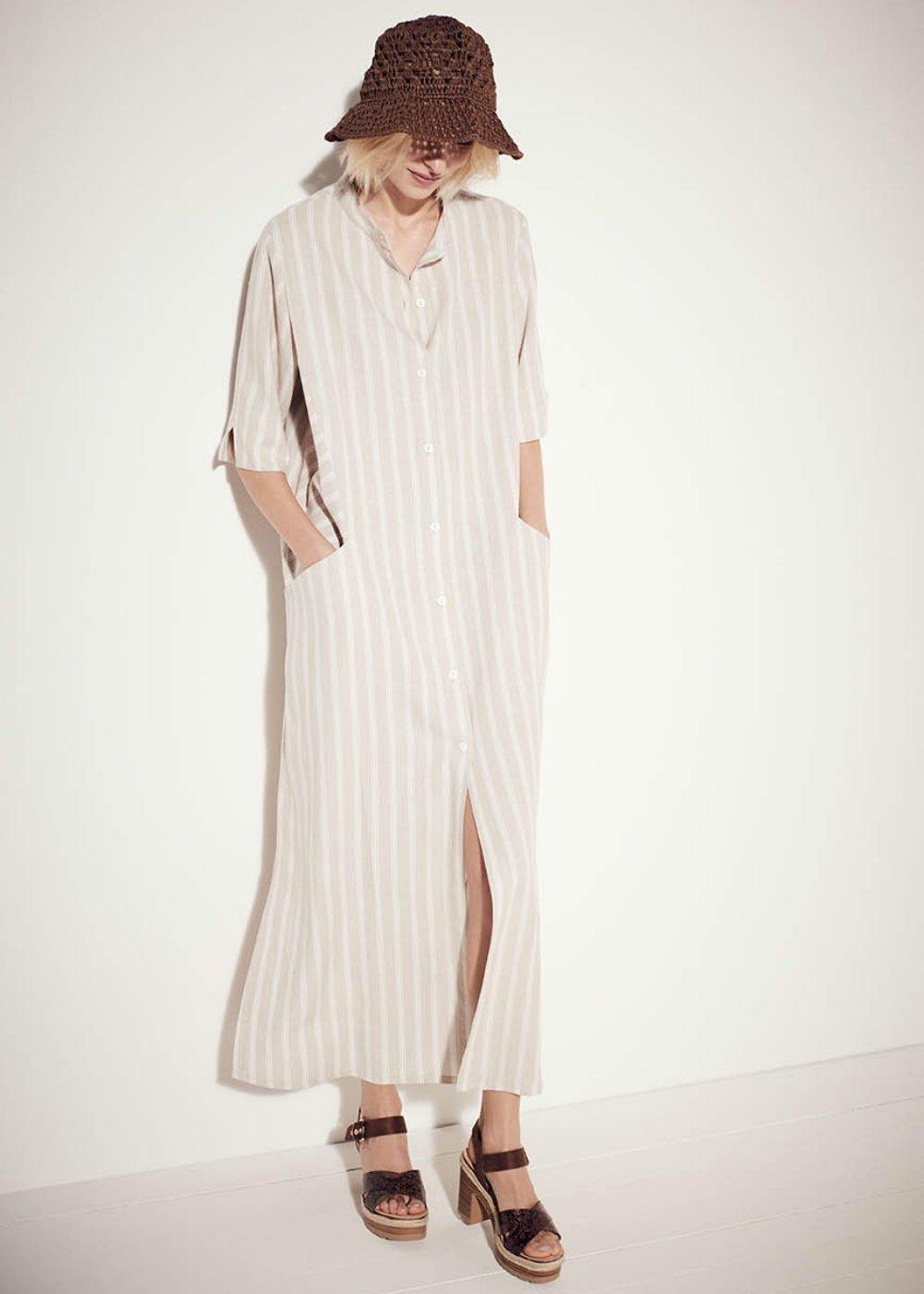 Adrian linen blend dress - Safari / White / Stripes - Woman