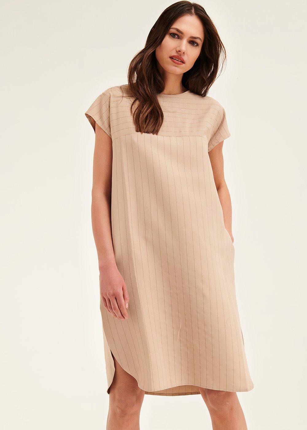 Avryl egg-shaped dress - Safari  / Black / Stripes - Woman