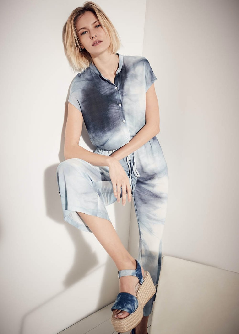 Tamiya tie-dye patterned jumpsuit - Oltremare / White Fantasia - Woman