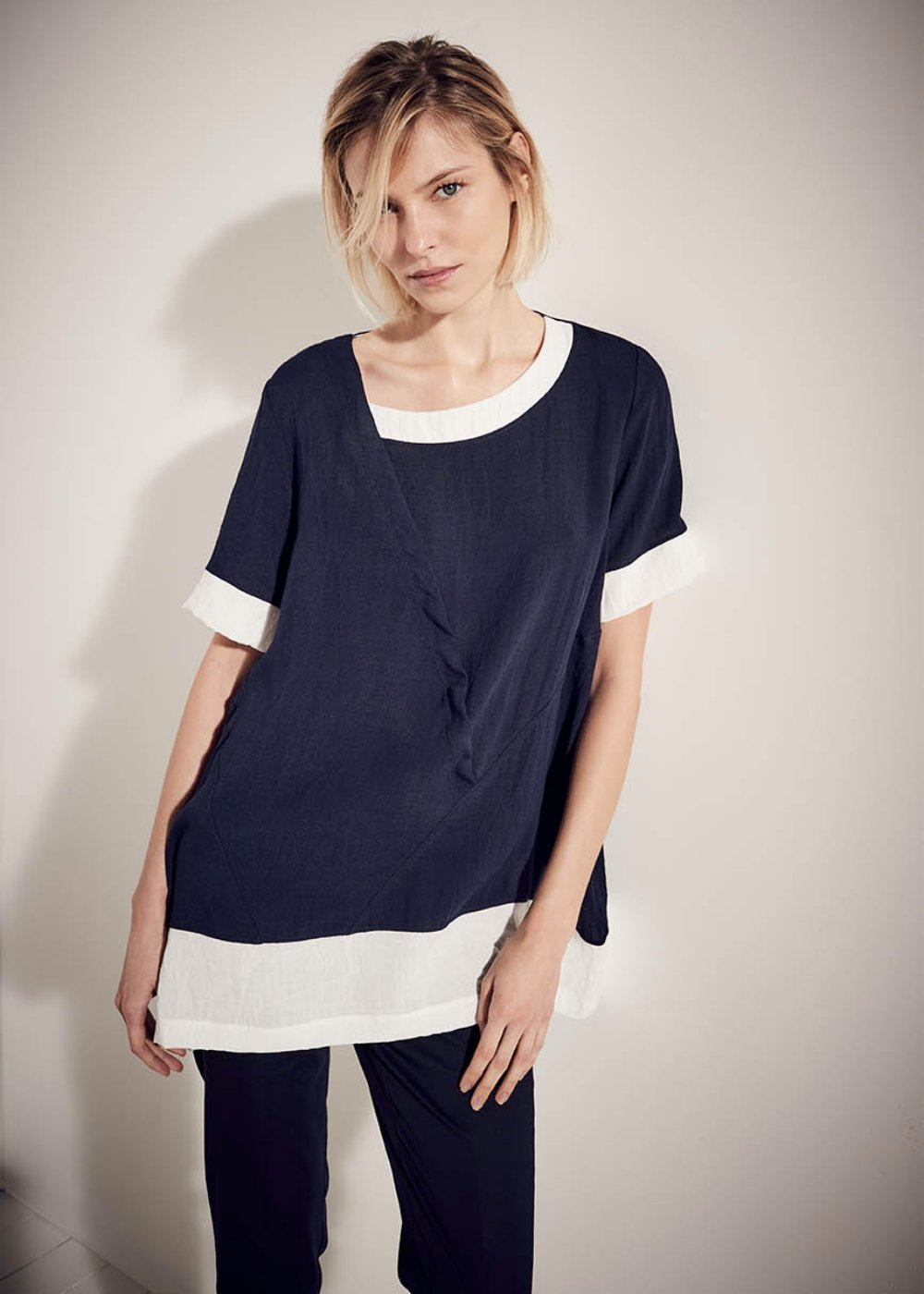 Salem t-shirt with contrasting insets - Ultramarine - Woman