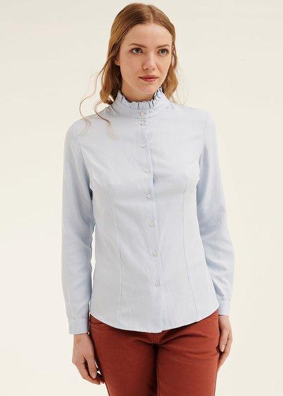 Camicia Cathryn con colletto rouches