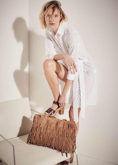 Shopping bag Bettye in vera pelle con frange