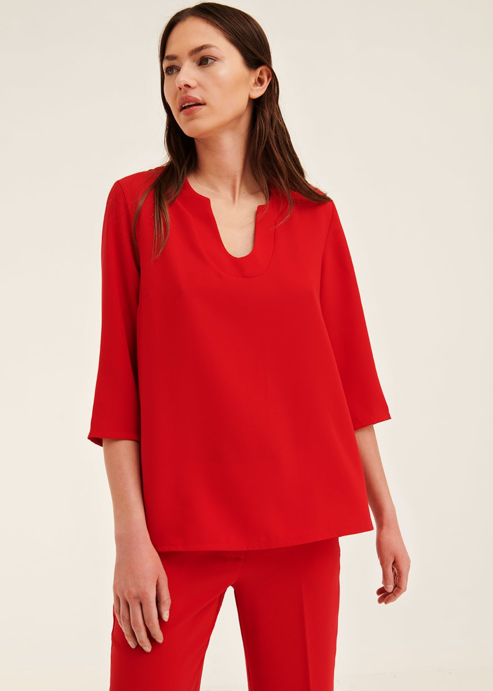 Sara cherry-red blouse - Cherry Red - Woman