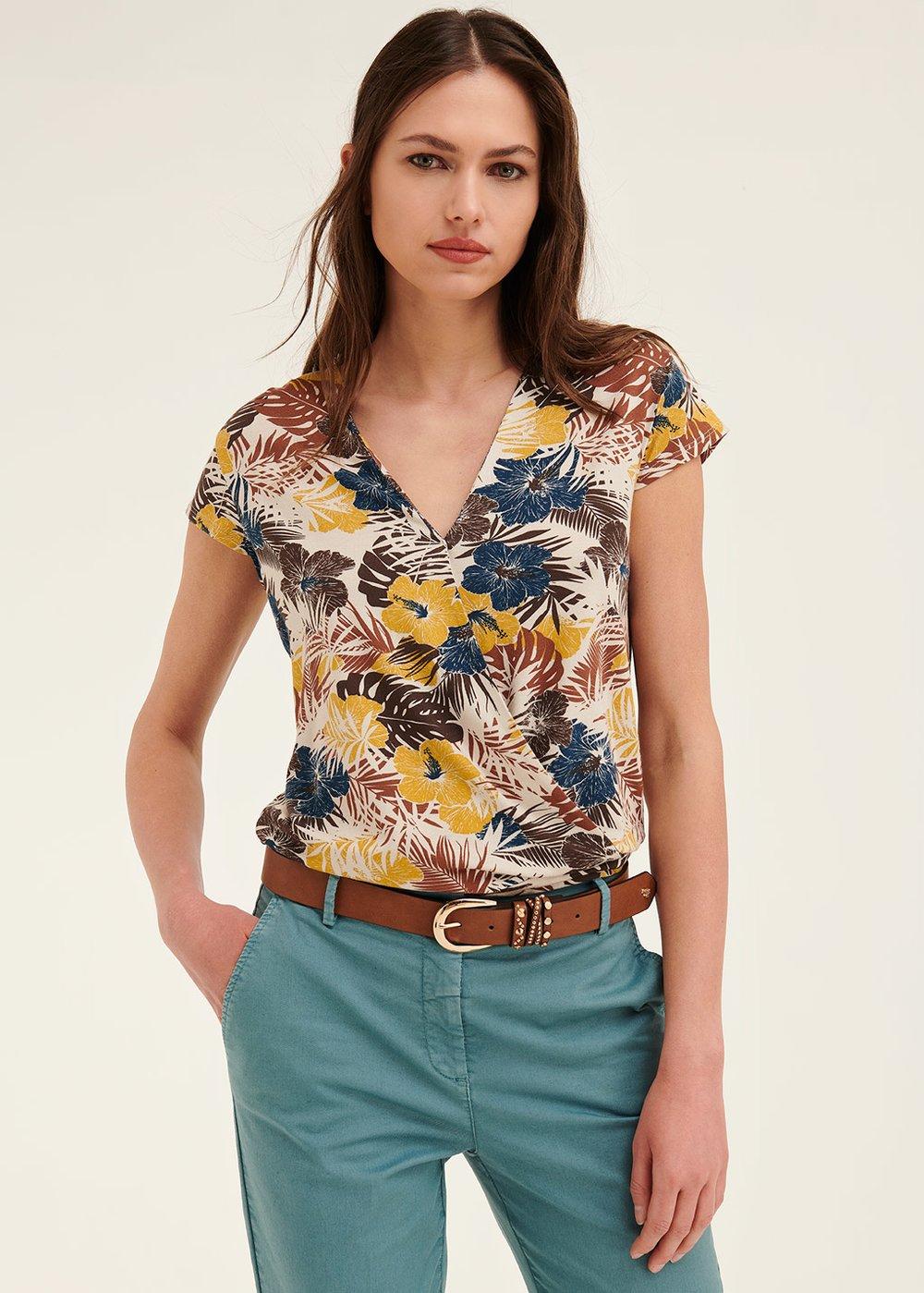T-shirt Elena scollo incrocio - White / Miele Fantasia - Donna
