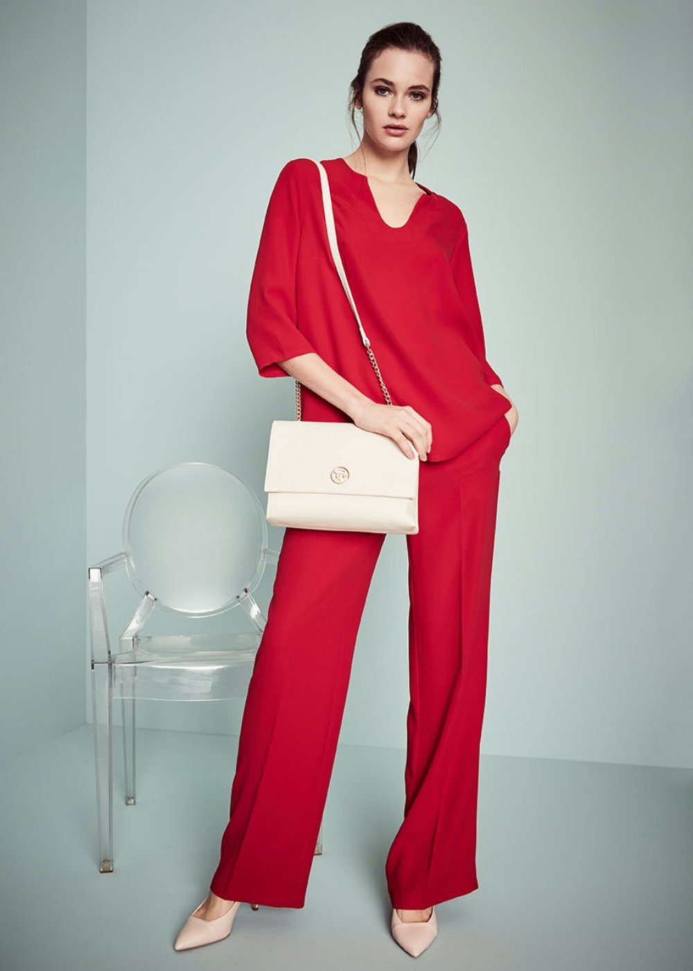 Ashley palazzo trousers - Cherry - Woman