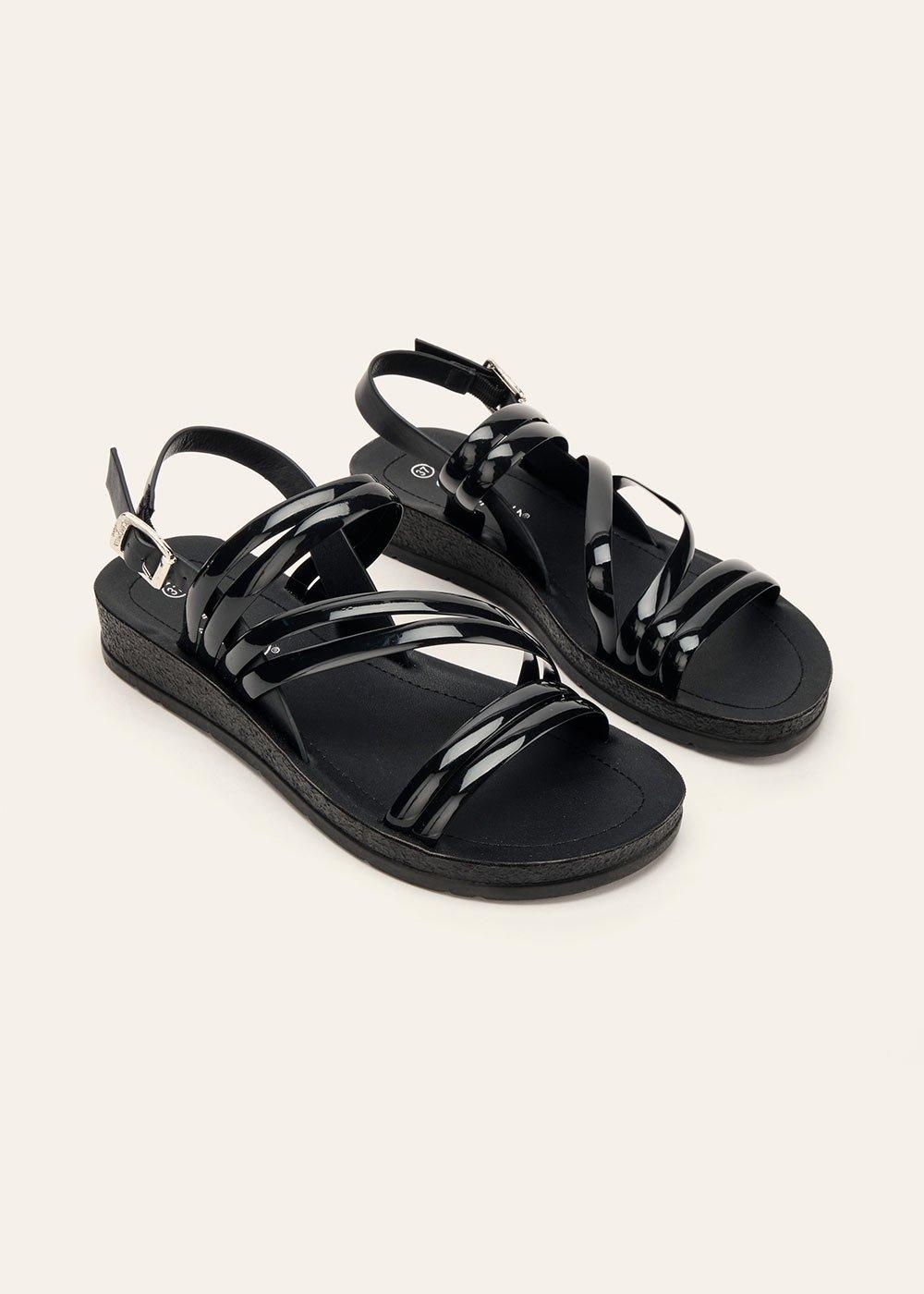 Steyla beach sandal with vinyl bands - Black - Woman