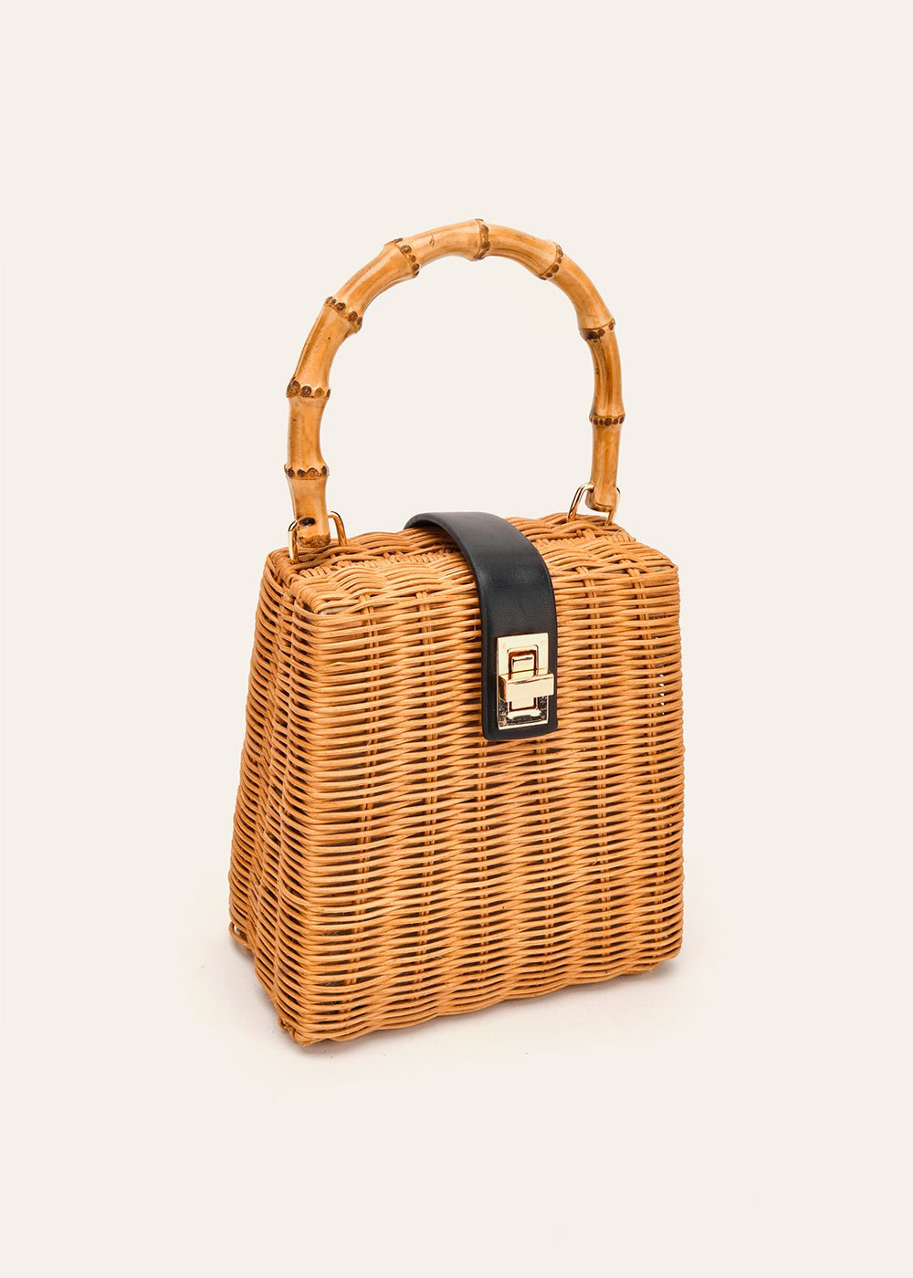 Bailee rigid straw bag - Cammello /  Caviale - Woman