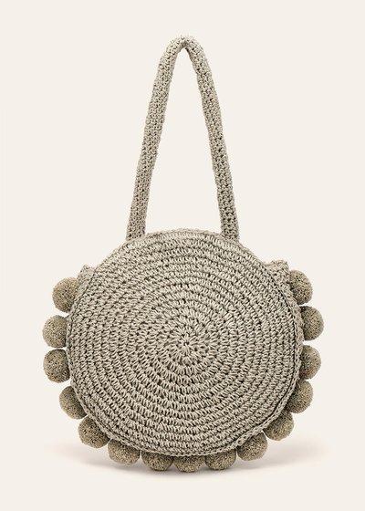 Beckie round shopping bag with pom-pom
