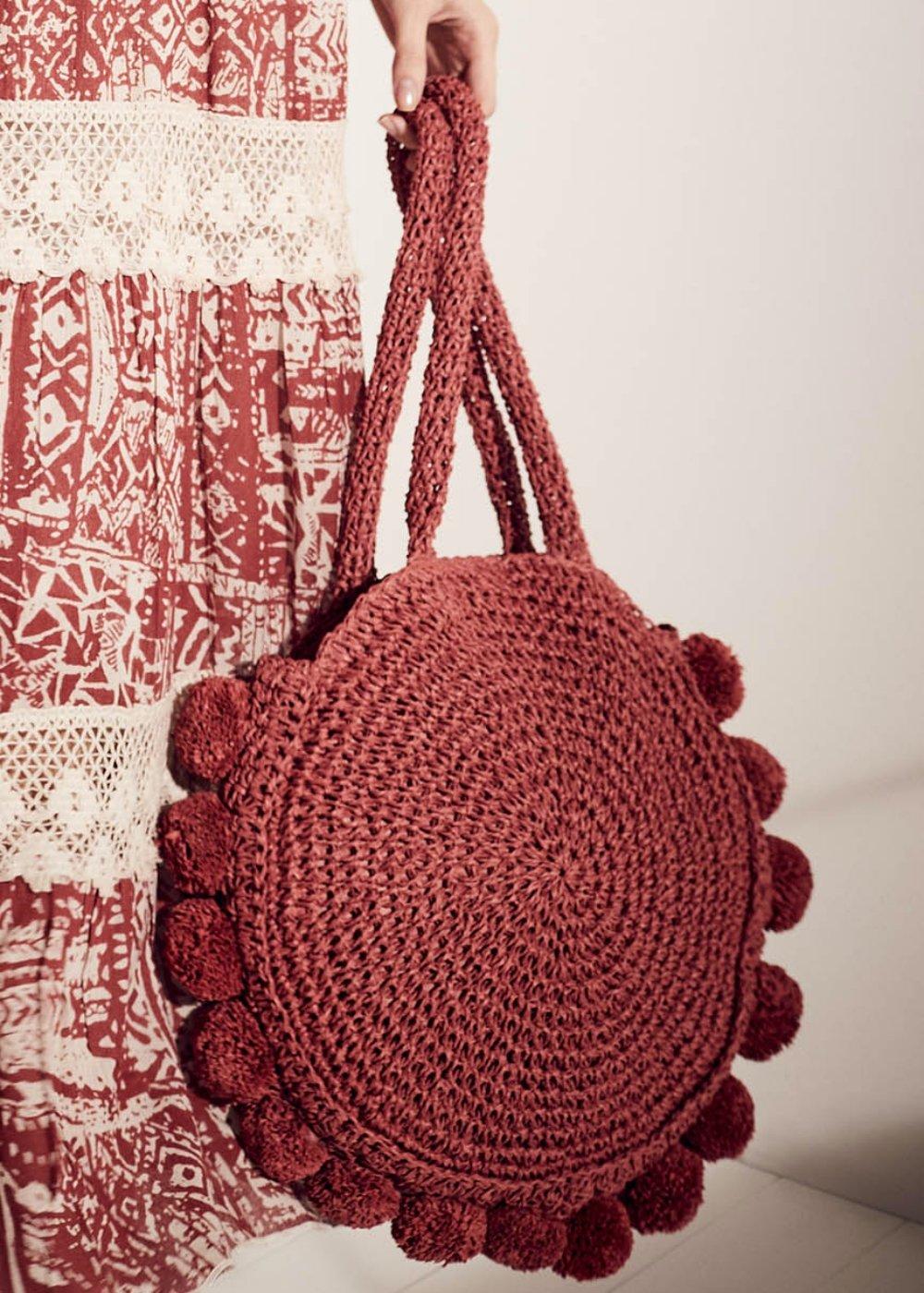 Shopping bag Beckie tonda con pom pom - Ciliegia - Donna