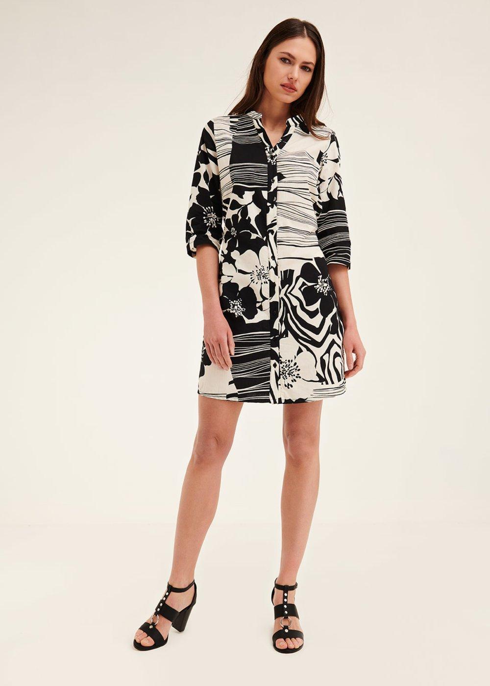 Alexander dress with macro two-tone pattern - Black White Fantasia - Woman