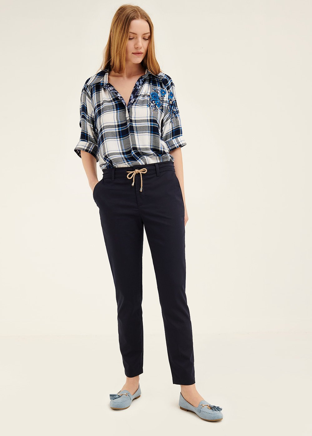 Alice cotton trousers with drawstring - Ultramarine - Woman