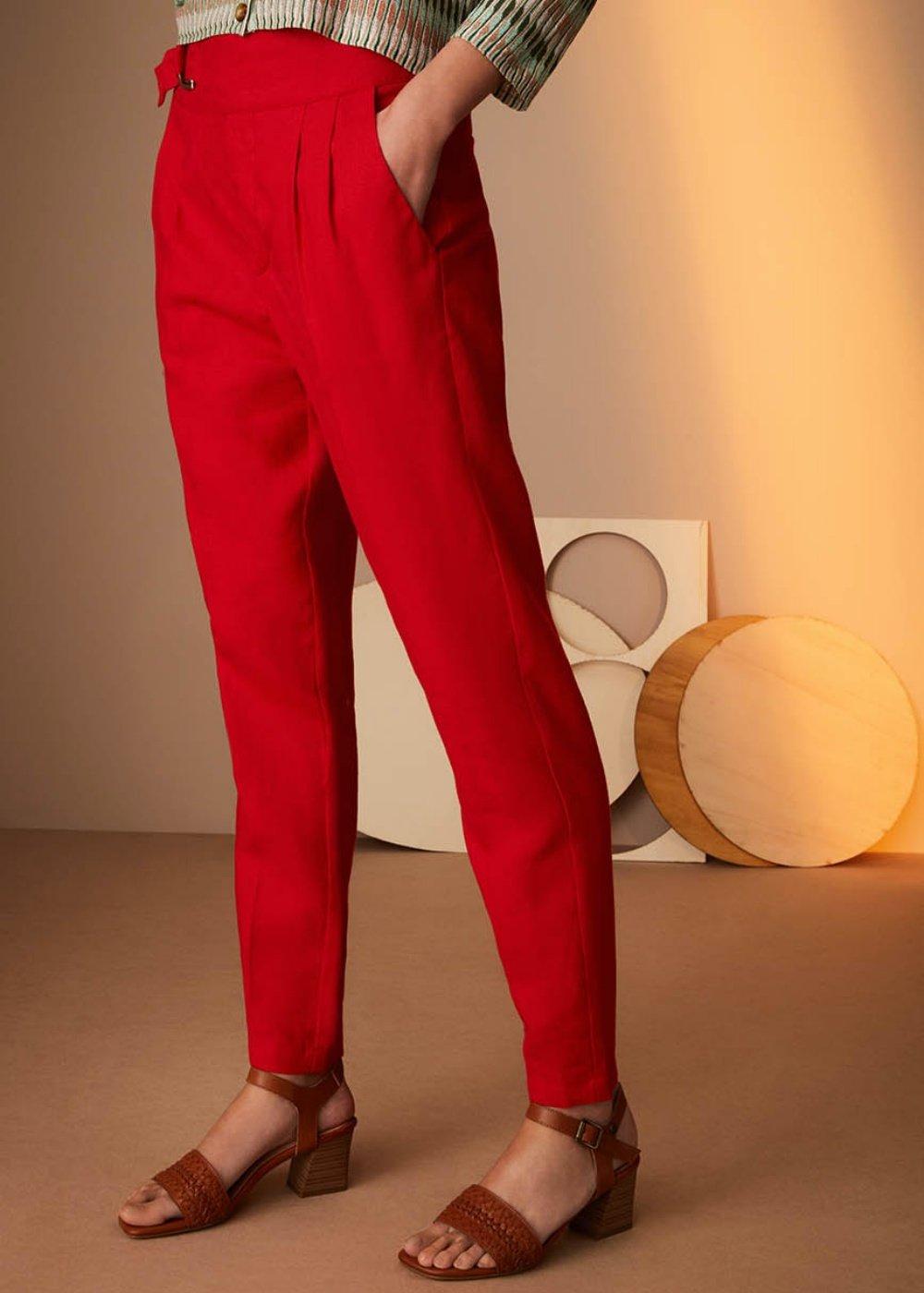 Pantalone Pako in lino - Aragosta - Donna