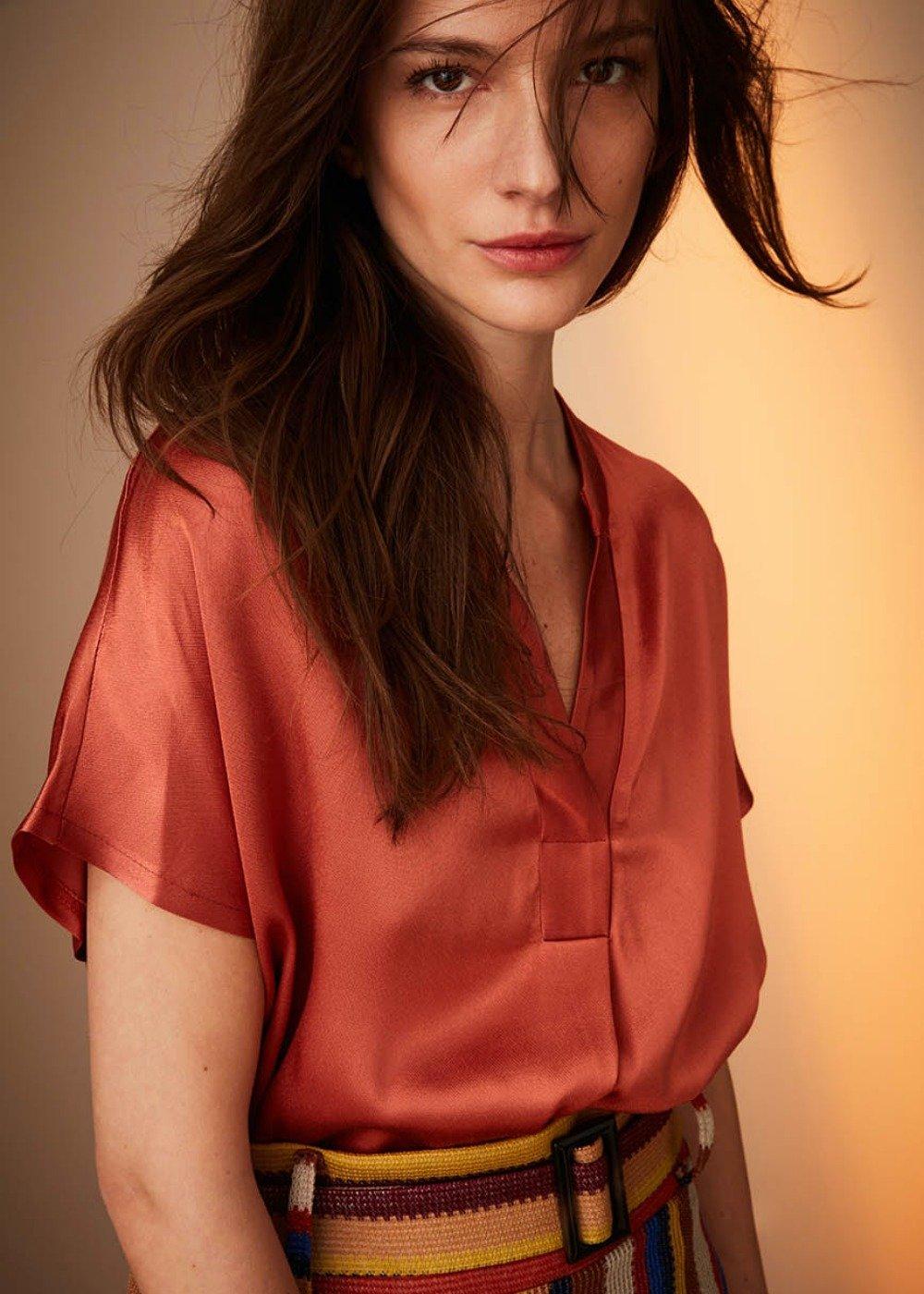 Camilla bamboo fabric blouse - Cinnamon - Woman