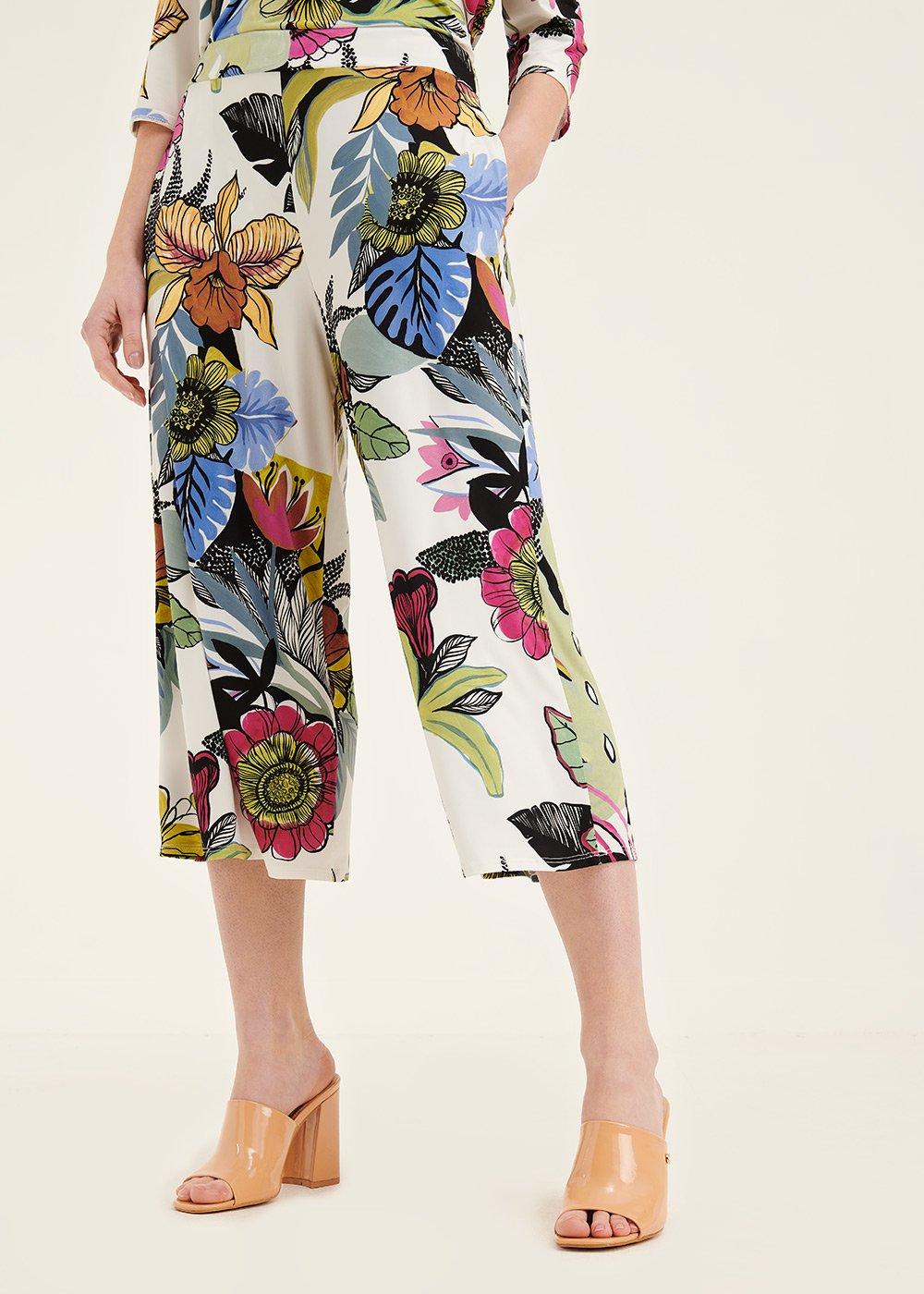 Megan floral print trousers - White /  Curcuma Fantasia - Woman
