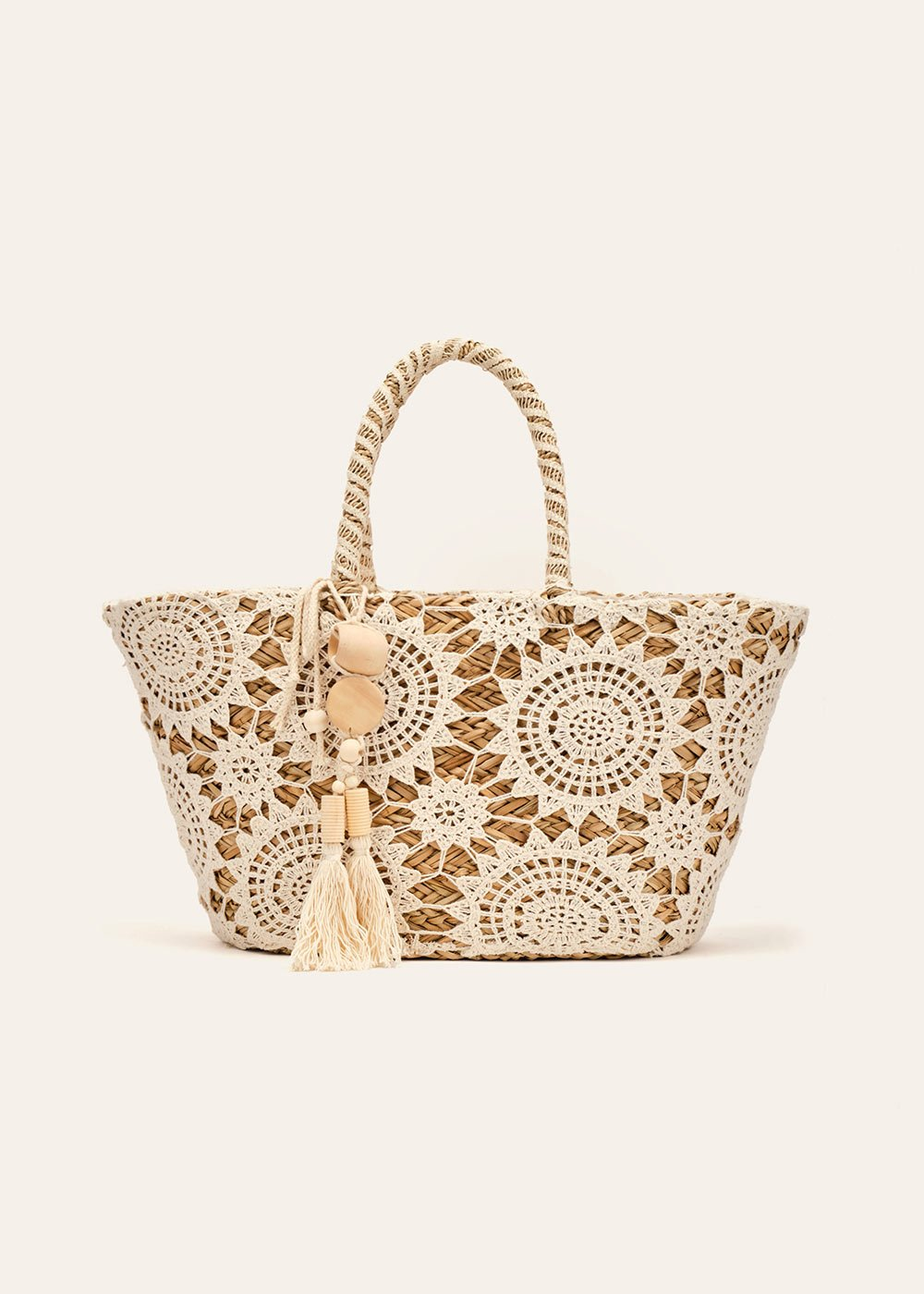 Barcelona crochet and straw beach bag - Safari  / Mousse - Woman