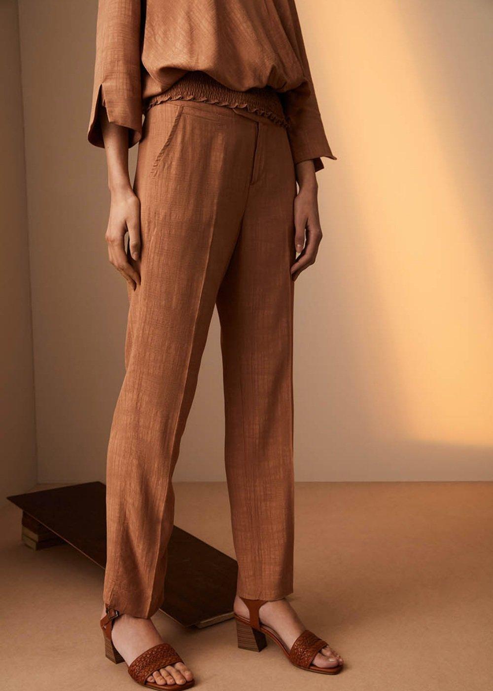 Pantalone Alice con tasche - Cammello - Donna