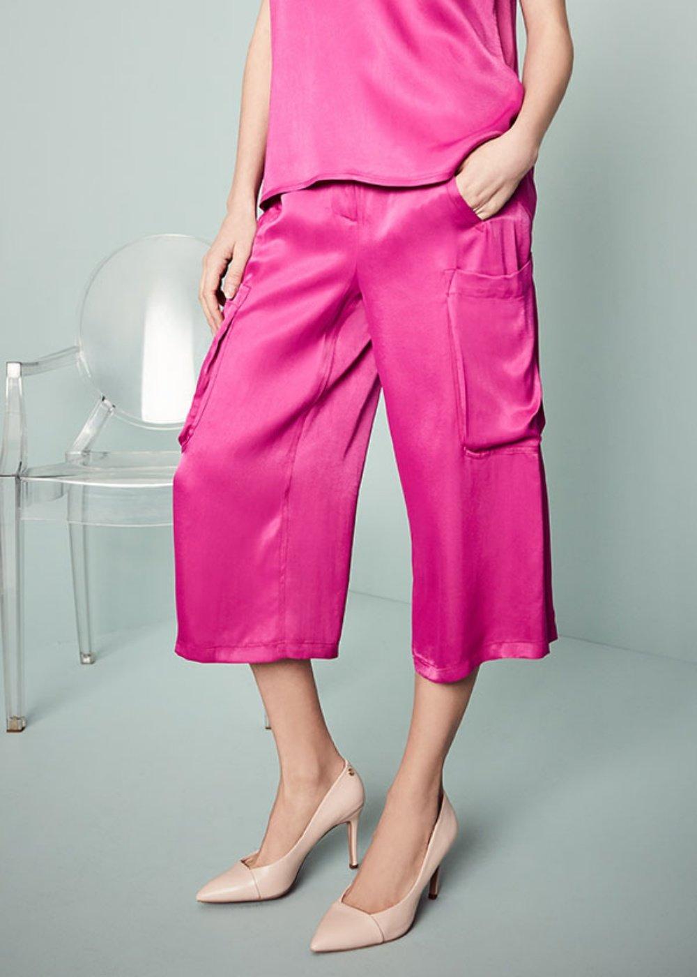 Pierrot capri pants with side pockets - Rasberry - Woman