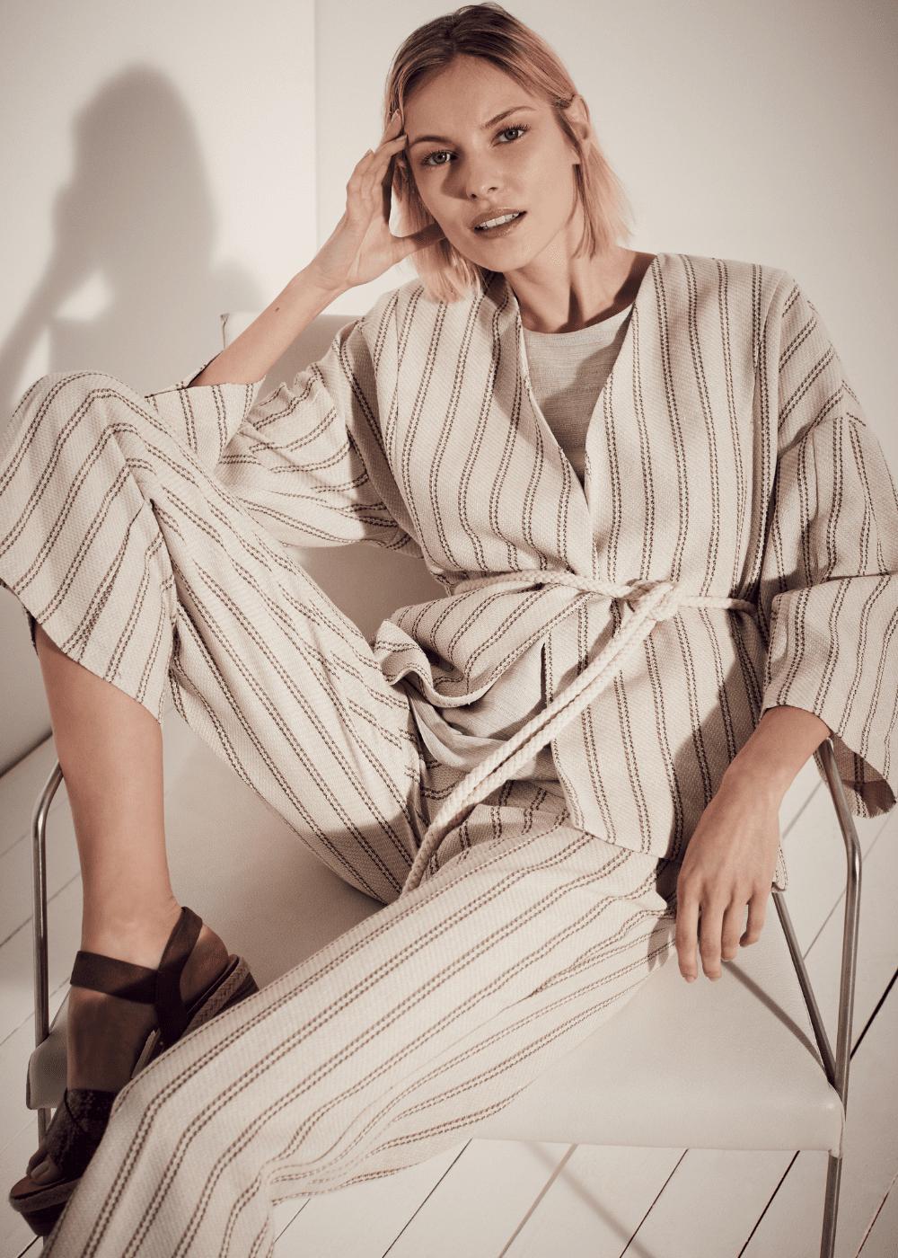 Megan kimono shrug - L.beige / Cacao Stripes - Woman
