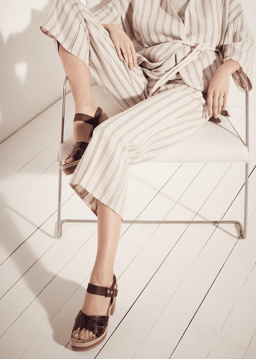 Pantalone Megan in cotone lino - L.beige / Cacao Stripes - Donna