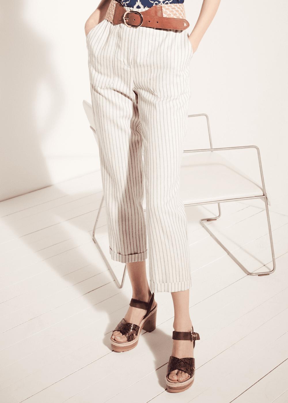 Pantalone Lara con tasconi e cintura - L.beige / Cacao Stripes - Donna
