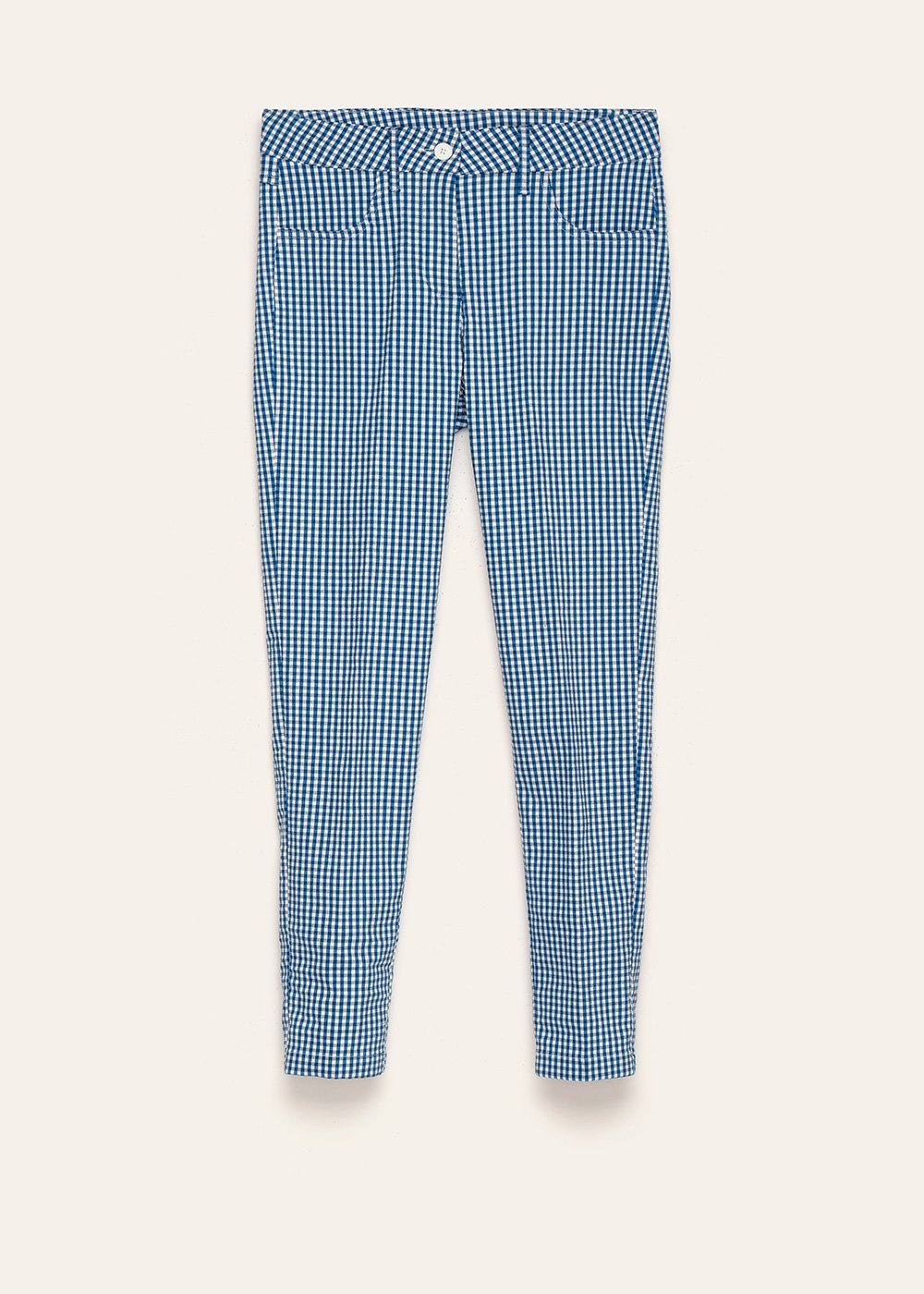 Kate trousers with micro check pattern in shades of blue depths - Abisso White / Fantasia - Woman