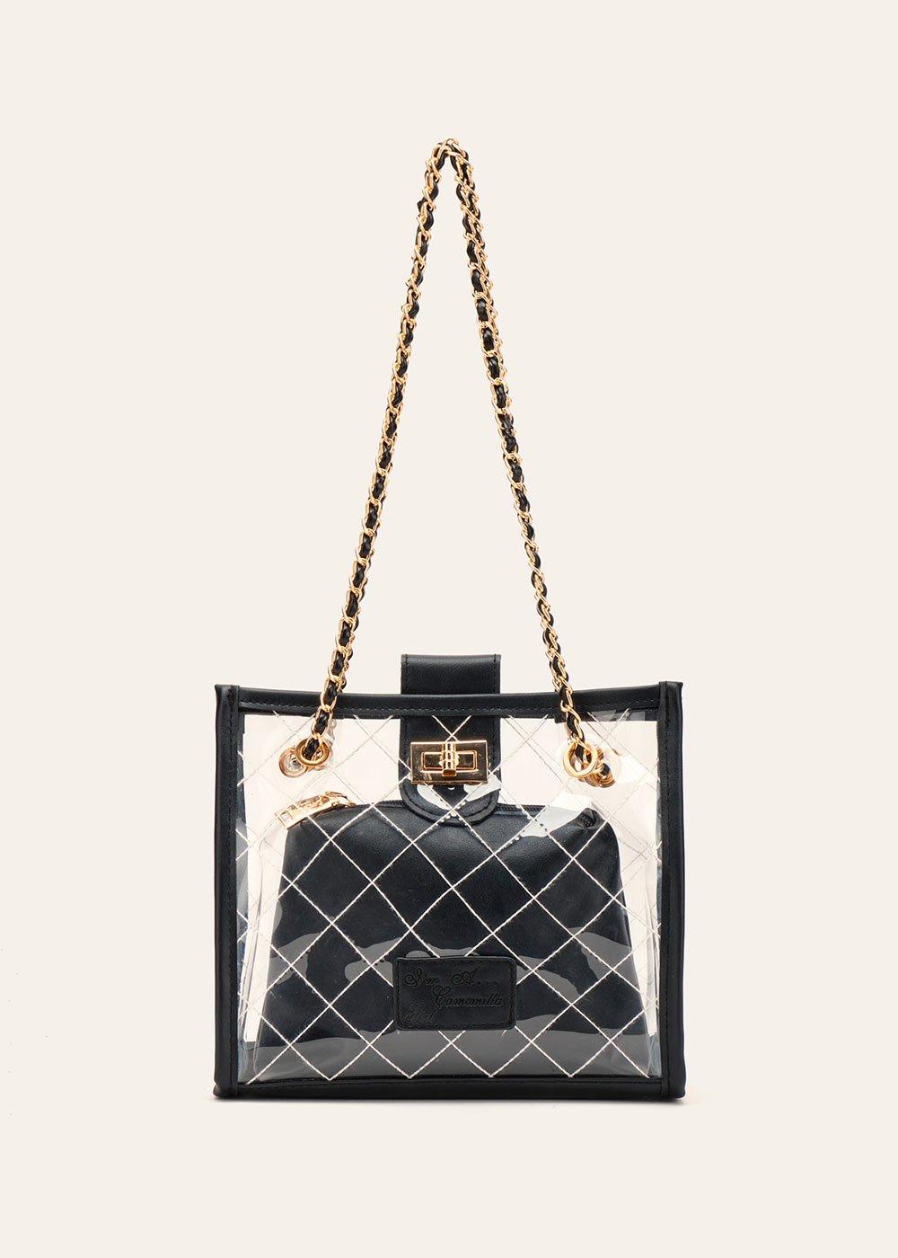 Beverly quilted vinyl handbag - Black - Woman