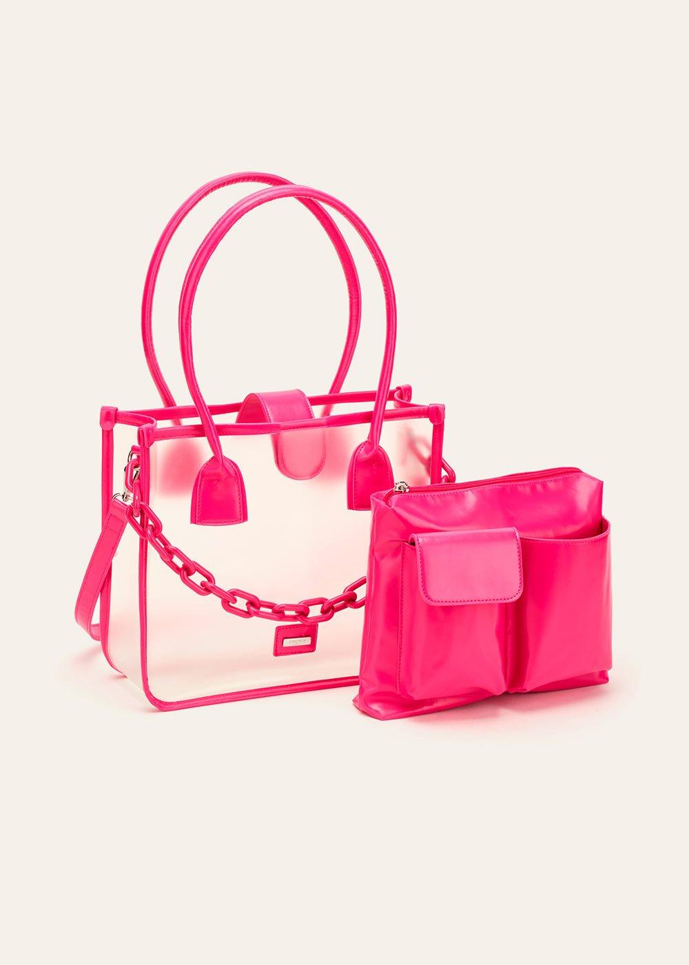 Brigid vinyl shopping bag with chain - Rasberry - Woman