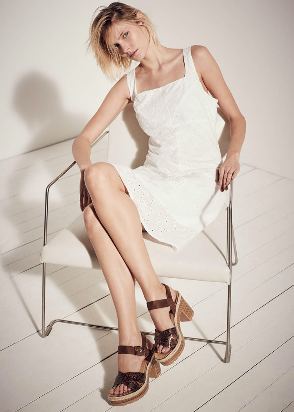 Kelly broderie anglaise dress - Latte - Woman