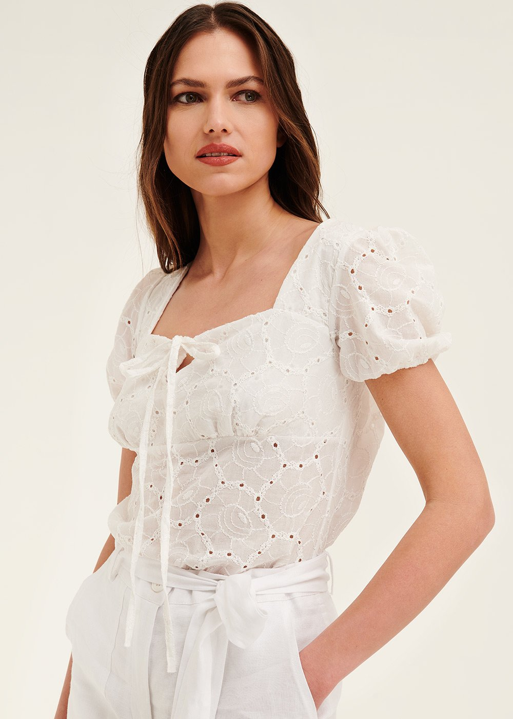 Kelly broderie anglaise shirt - Milk - Woman