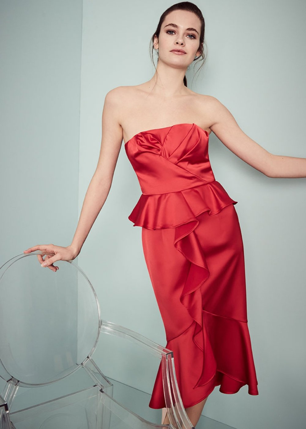 Alfred dress with bustier and ruffles - Cherry - Woman