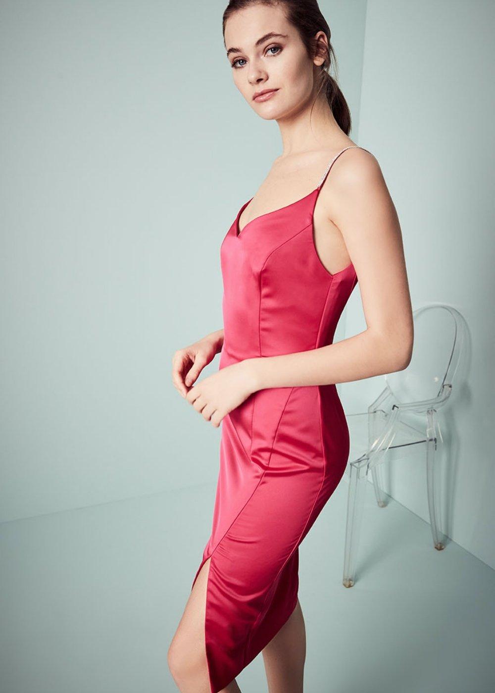 Arthur dress with rhinestone straps - Rasberry - Woman