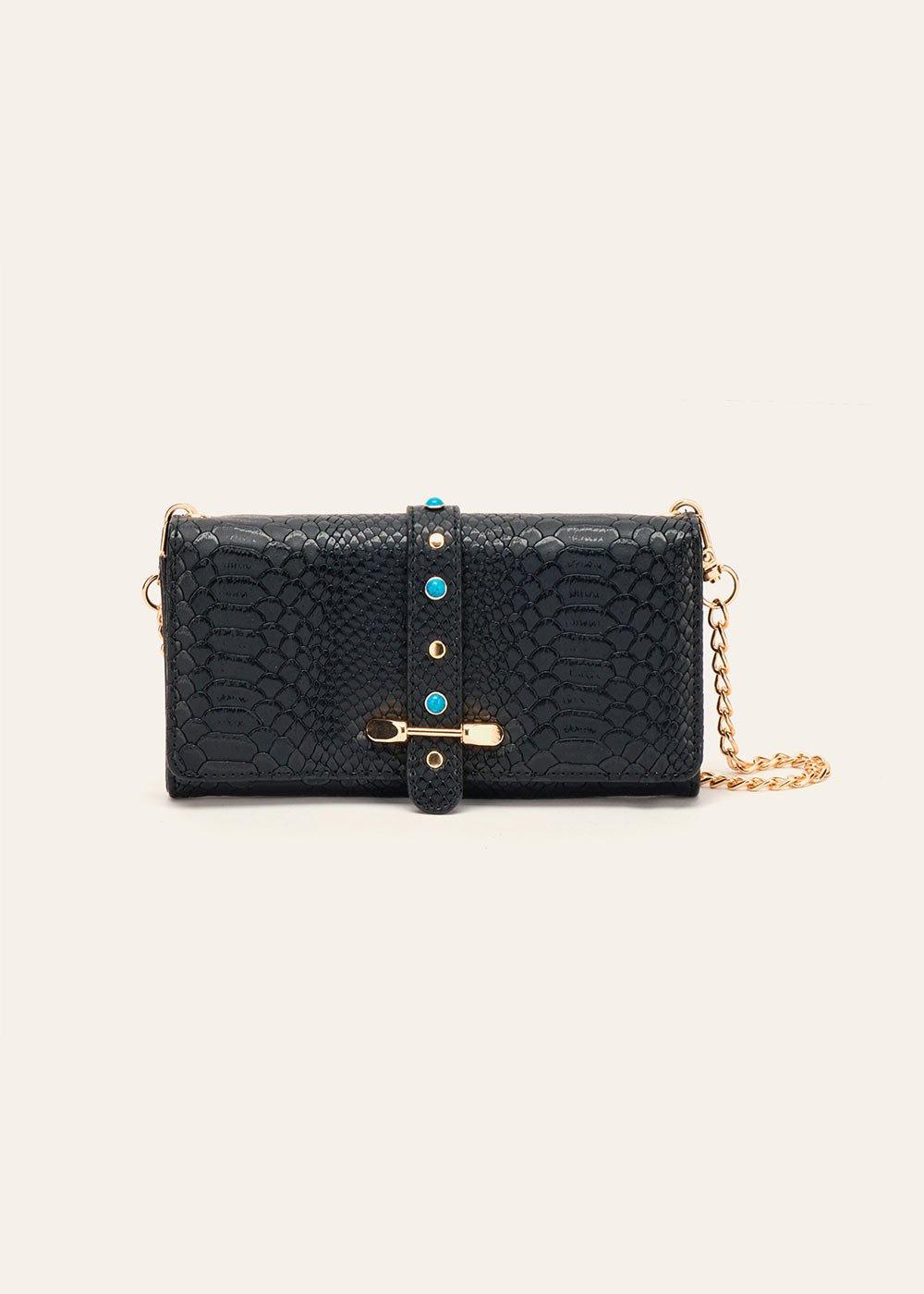 Paloma wallet with shoulder strap - Black - Woman