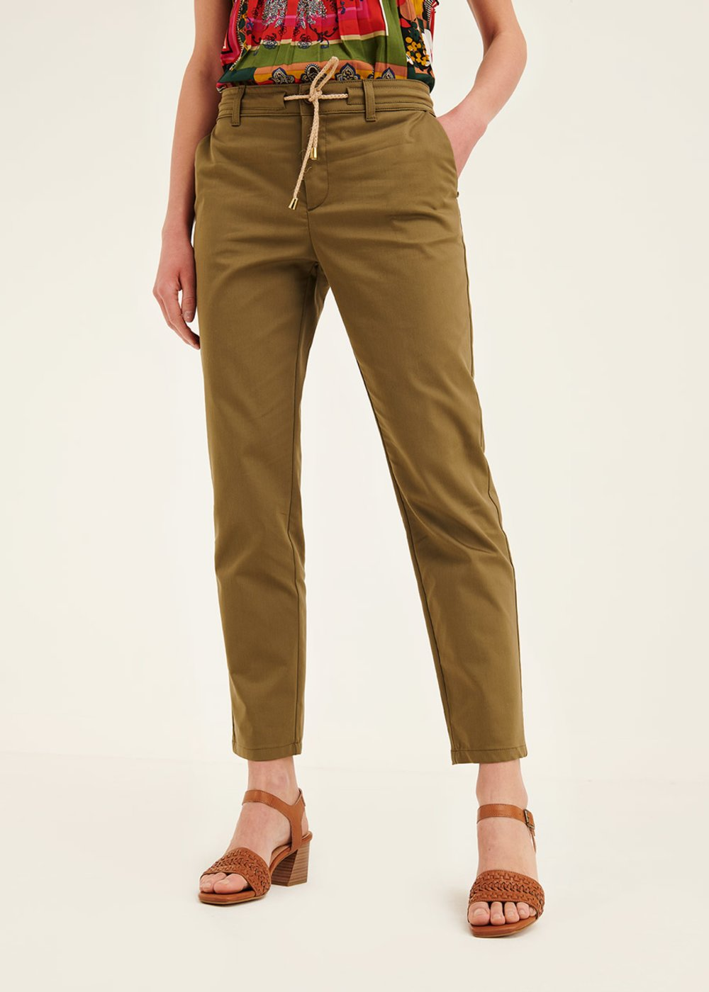 Alice cotton trousers with drawstring - Green - Woman