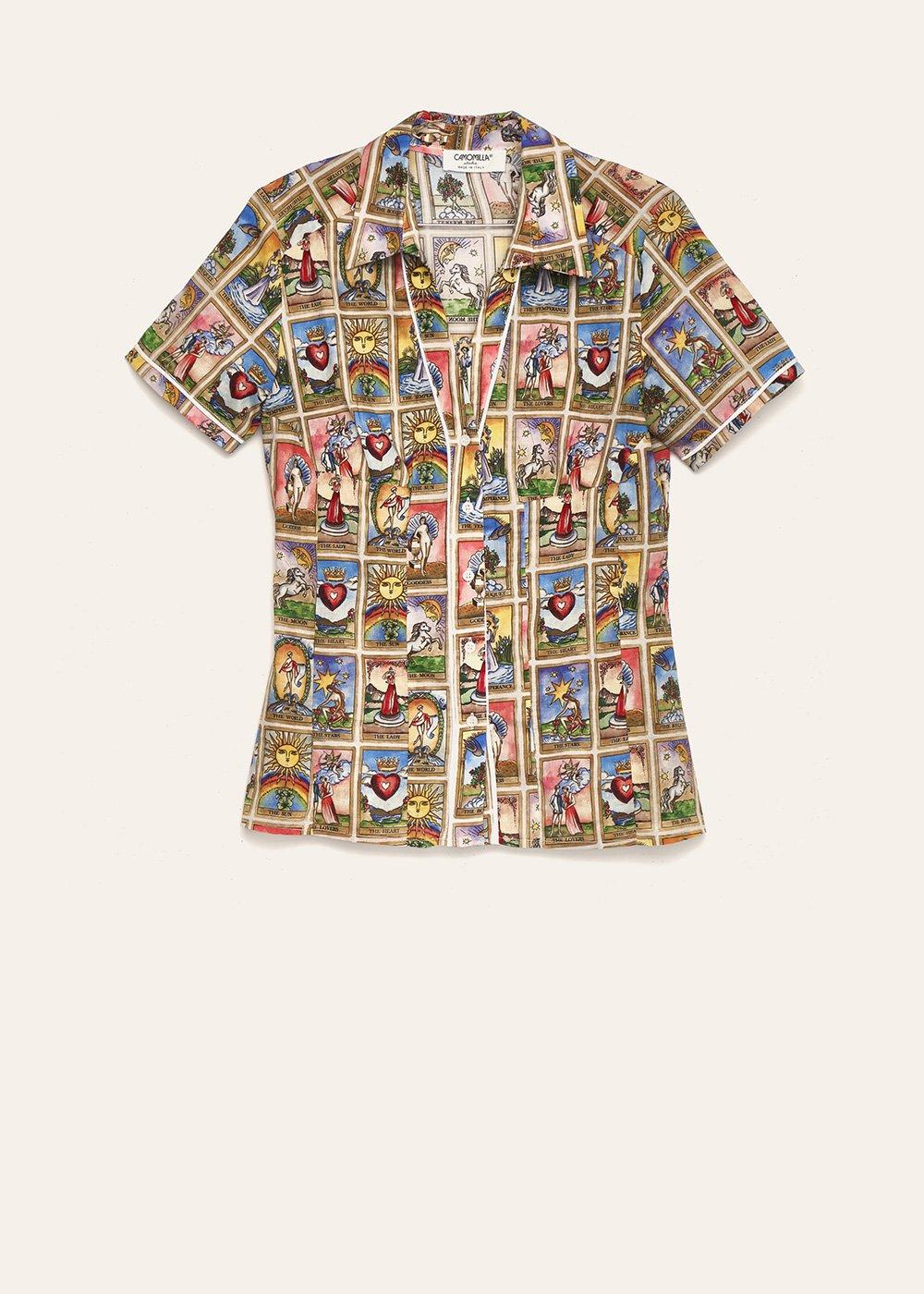 Scarlett tarot print shirt - Sole /    Cielo Fantasia - Woman