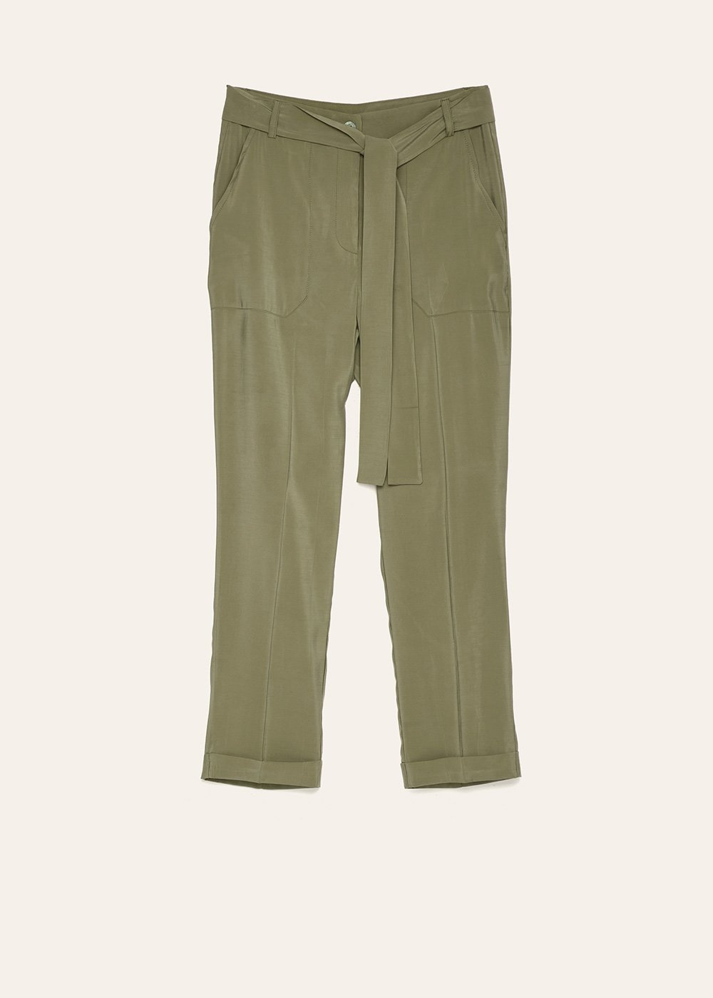 Lara trousers with patch pockets - Green - Woman